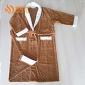 梦妃丝酒店高端品质纯棉咖啡色青果领 割绒染色浴袍浴衣睡袍